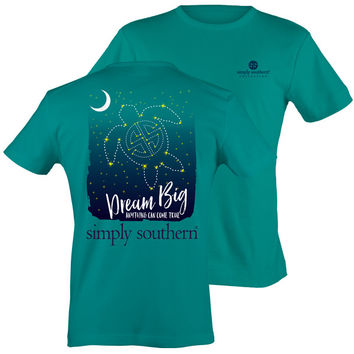 Simply Southern Preppy Dream Big Turtle Stars Tropical Blue T-Shirt