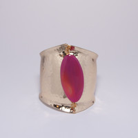Gorgeous Gold Cuff with Magenta Stone