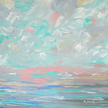 Acrylic Seascape Painting 12x12 Canvas Abstract Landscape Pastel Seafoam Green Pink White Contemporary Art Coastal Beach