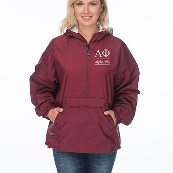 Alpha Phi Windbreaker lined with flannel lining, Alpha Phi Sorority Rain Jacket, A Phi sorority Anorak, AlphaPhi Greek Apparel, Greek Gear