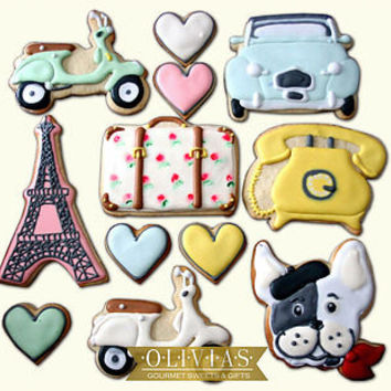 Parisian Decorated Sugar Cookies | Set of 24 or 45 Springtime in Paris Vintage Cookies French Bulldog Eiffel Tower Car Scooter