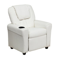 Flash Furniture Indoor Kids Recliner Cushion Sofa Chair with Cup Bottle Holder and Headrest White Vinyl