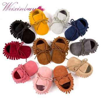 Boy Girl Soft Moccs Fringe Soft Soled Non-slip Footwear  Shoes PU Suede Leather Newborn Baby Moccasins QF