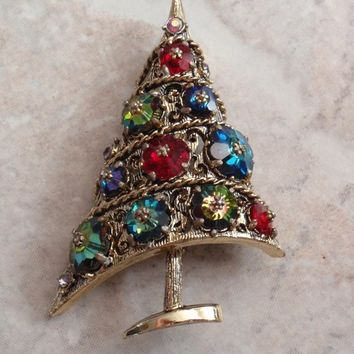 Weiss Christmas Tree Brooch Margarita Rhinestones Prong Set Off Center Tilted Book Piece Vintage