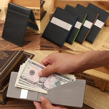 Mens Leather Magic Credit Card ID Holder Money Clip Wallet Brand New