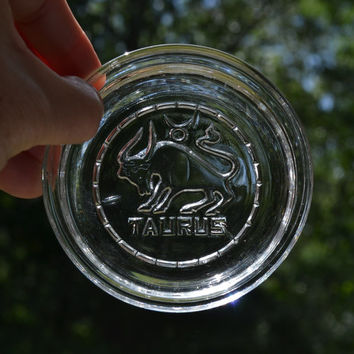 Vintage Glass Coaster Taurus Zodiac Retro Decor Barware PanchosPorch