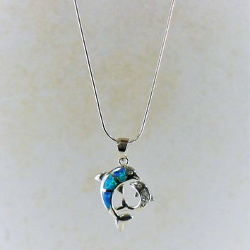 Mom and Baby Dolphin Blue Fire Opal Necklace in Sterling Silver