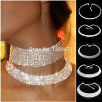 Women Crystal Diamante Rhinestone Necklace Silver Plating Wedding Bridal Party Collar Choker Chain Necklace Jewelry Gifts