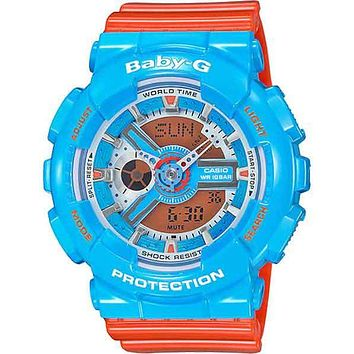Casio Baby-G - Analog-Digital - Blue 3-D Face - Orange Strap - 100M