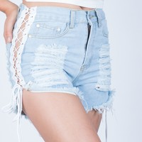 Destroyed Lace-Up Denim Shorts