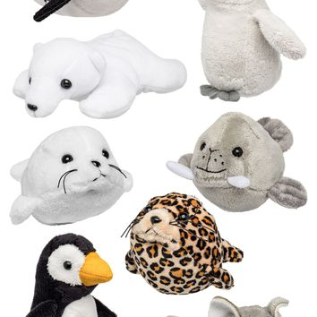 "8 Pack Arctic Mini 4"" Small Stuffed Animals, Variety of Zoo Animal Toys, Party Favors for Kids"