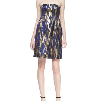 Ikat Jacquard Strapless Shift Dress - Michael Kors