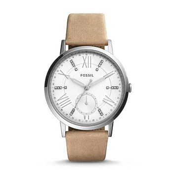 Gazer Multifunction Leather Watch, Sand | FOSSIL