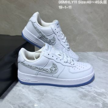 KUYOU N945 Nike Air Force 1 AF1 Mid Embroidery Fashion Casual Skate Shoes White Sliver