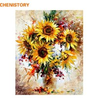 CHENISTORY Picture Sunflower Colorful DIY Painting By Numbers Kits Acrylic Picture Modern Wall Art Hand Painted For Home Decor