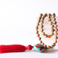108 Hand-Knotted Batikan Seeds Mala with Tibetan Guru Bead and Silk Tassel