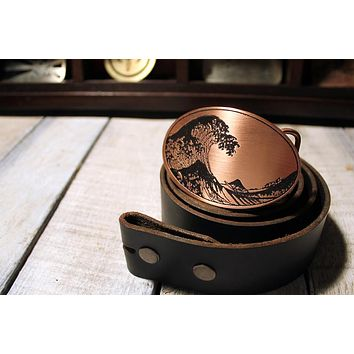 The Great Wave off Kanagawa Tsunami Belt Buckle