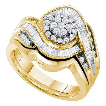 14kt Yellow Gold Women's Round Diamond Cluster Bridal Wedding Engagement Ring Band Set 3/4 Cttw - FREE Shipping (US/CAN)