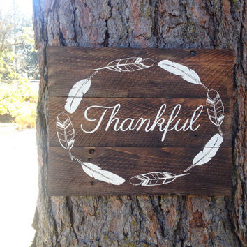 "Joyful Island Creations ""thankful "" wood sign, feather wreath sign, thanksgiving sign, fall decor, dining room sign, thankful sign"