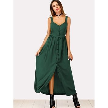 Solid Button Through Cami Dress Green