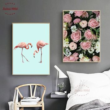 900D Flamingo Posters And Prints Wall Art Canvas Painting Wall Pictures For Living Room Flower Picture Decoration NOR044