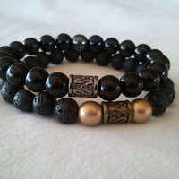 Men's Black Lava and Gold Bracelet