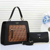 Fendi Fashion New Women Leather Chain Satchel Crossbody Shoulder Bag Handbag Two Piece Set Bag