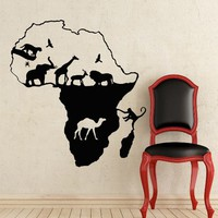 African Safari Wall Decal African Map Vinyl Stickers Animals Housewares Art Interior Nursery Bedroom Removable Home Decor NS980
