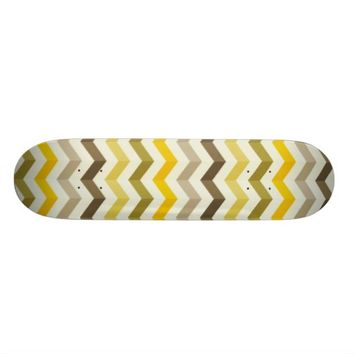 Yellow Chevron Pattern Skateboard