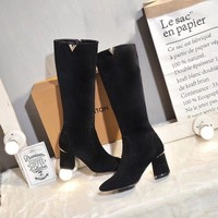LV Louis Vuitton Fashion Pointed Toe Leather High Boot Heels Shoes