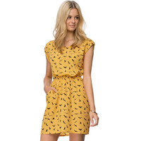 Yellow Seagull Print Dress
