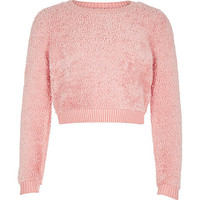 Girls pink super soft fluffy jumper