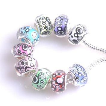 10PCS silver plated circle and dots Resin Flat Round Charm Beads fit European Jewelry pandora Braclet DIY 9x14mm DKZ023X