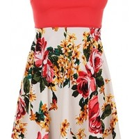 Strapless Floral Dress-$29
