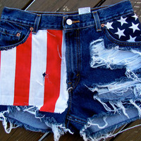 High waisted distressed American shorts