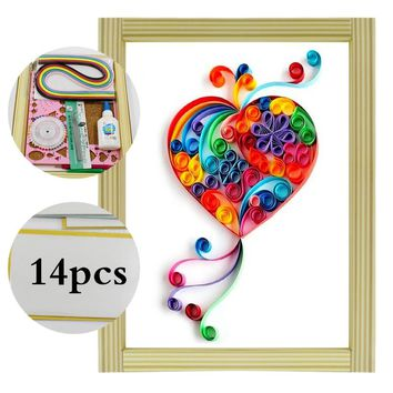 16 colorful Quilling Paper Craft Kits 14Pcs Tool set fly heart Decorating