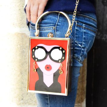 Z912 Women Acrylic Clutch Bag New Personality Style Red girl Shape Wholesale Lady Evening Purse Girls Handbag With Chain