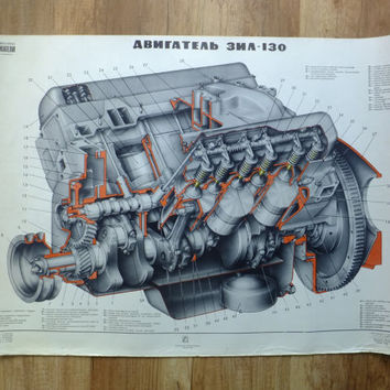Vintage Soviet CCCP Engine Blueprint School Pull Down Drowing Cutaway V-type engine ZIL-130
