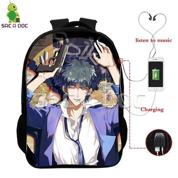 Anime Backpack School kawaii cute Cowboy Bebop Spike Multifunction Backpack School Bags for Teens Men Women USB Charging Headphone Jack Laptop Backpack AT_60_4