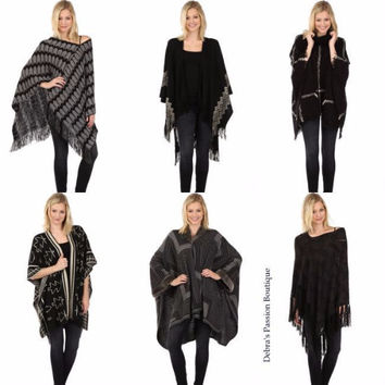 My Favorite Ponchos-Ellie & Kate-Black or Gray Multi-Six Styles to Choose From
