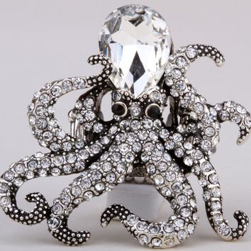 SHIPS FROM USA Octopus stretch ring antique gold silver color W crystal fashion scarf jewelry charm gifts for women
