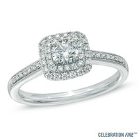 Celebration Fire® 1/2 CT. T.W. Diamond Frame Engagement Ring in 14K White Gold (H-I/SI1-SI2)