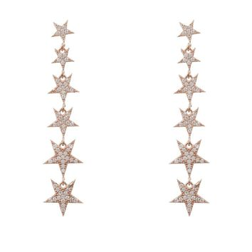 Graduated Star Drop Earring Rosegold