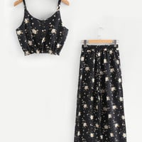 Calico Print Crop Cami Top With Wide Leg Pants