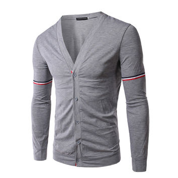 Men Long Sleeve T-shirts V-neck Jacket [6528873411]