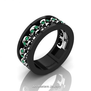 Mens Modern 14K Black and White Gold Emerald Skull Channel Cluster Wedding Ring R913-14KBWGEM