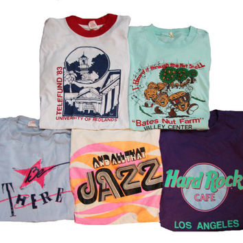5 Vintage T-shirts Size Medium Distressed 80's Shirts