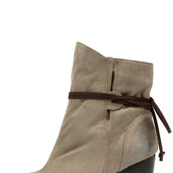 Keeping It Chill Taupe Oil Finish Slouchy Ankle Boots
