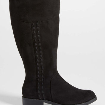 Selena faux suede boot with whip stitching in black | maurices