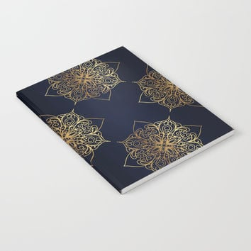 Gold and Navy Damask Notebook by Tanyadraws